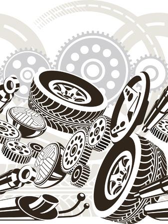 car tire: patroon van motor voertuigen delen. Naadloze in rij.  Stock Illustratie