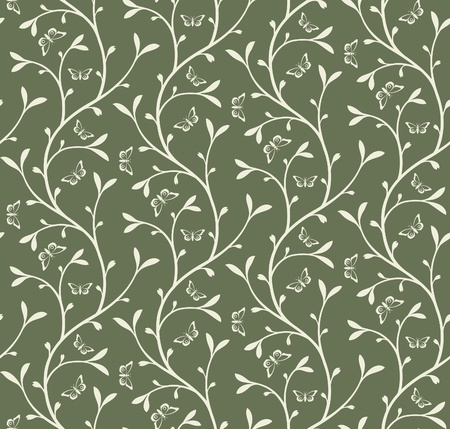 Seamless floral pattern with sprouts and butterflies Vector
