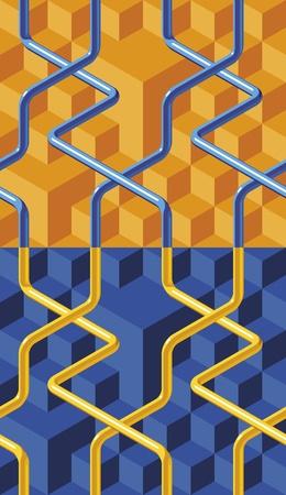 kunststoff rohr: Abstrakt Net farbige Rohre. Geometrische nahtlose Muster. Illustration