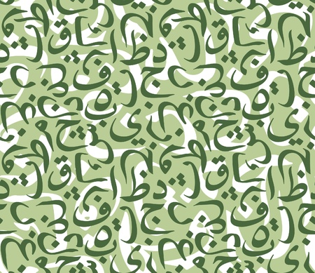 script: Seamless pattern made from symbols of Arabic calligraphy. Illustration