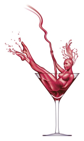 Sexy girl appears from red Martini pouring into a glass. Illustration