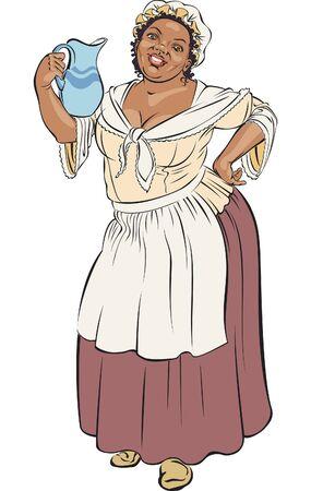 sirvientes: Mujer negra vestida por moda antigua est� sonriendo con una jarra en su hombro.
