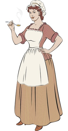 servant: White woman dressed like old-fashioned French cook is smiling with a spoon in her hand. Illustration