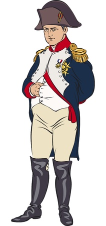 authority: Napoleon Bonaparte in a color illustration Illustration