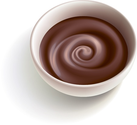 Dark molten chocolate swirling in the white cup