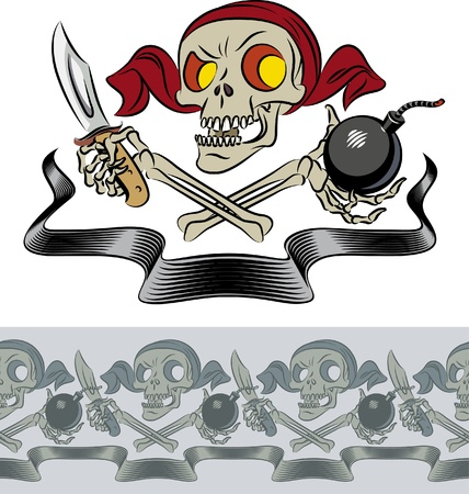 Furious skull of pirate with crossed bones, knife and bomb. Vector