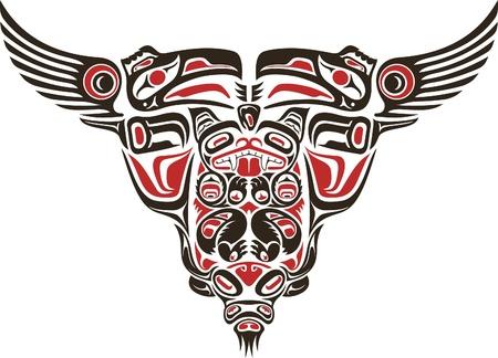 American Indian: Haida estilo dise�o de tatuaje creado con im�genes de animales. Vectores