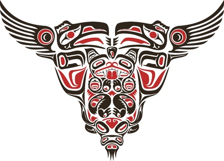 Haida style tattoo design created with animal images. Illustration