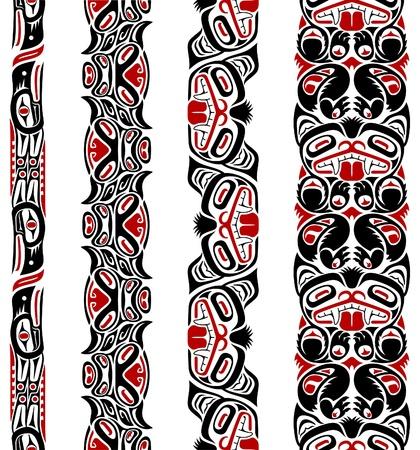 Haida style seamless pattern created with animal images. Illustration