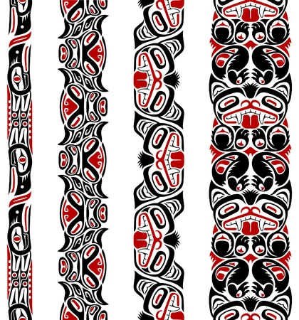 Haida style seamless pattern created with animal images. Illustration