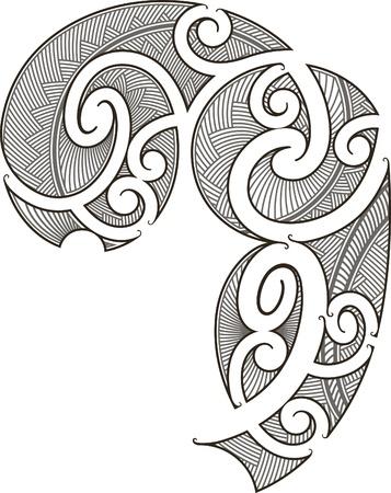 폴리네시아: 남자를위한 마오리 스타일 문신 디자인 적합 일러스트