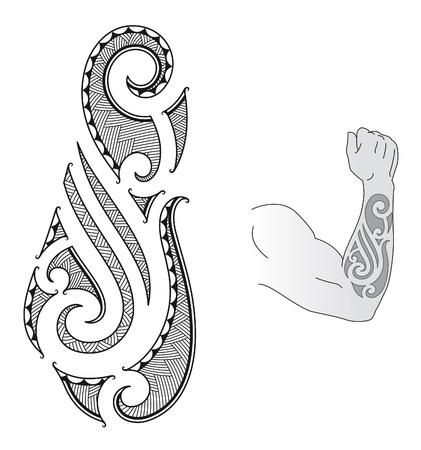 Al estilo maorí del tatuaje de diseño adecuado para un antebrazo. Ilustración de vector