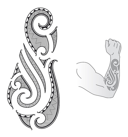 Maori style tattoo design fit for a forearm. Stock Vector - 12447705