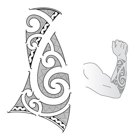 폴리네시아: 팔뚝에 대한 마오리 문신 디자인 스타일에 맞는.
