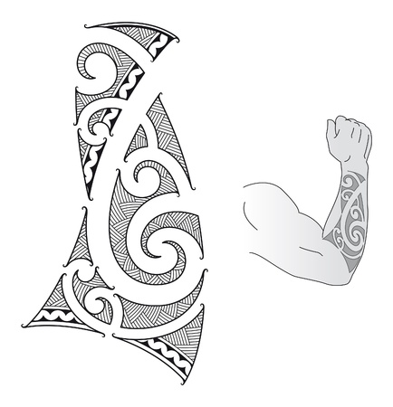 Maori style tattoo design fit for a forearm. Vector
