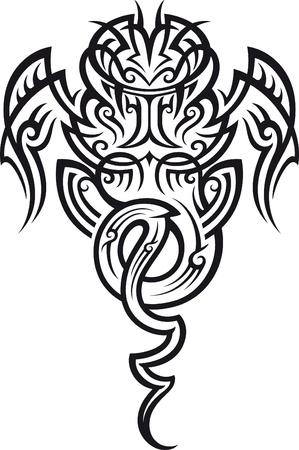 maories: Patrón de tatuaje tribal en estilo maorí. Taniwha la criatura sobrenatural. Ilustración del vector.