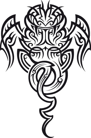 maories: Patr�n de tatuaje tribal en estilo maor�. Taniwha la criatura sobrenatural. Ilustraci�n del vector.