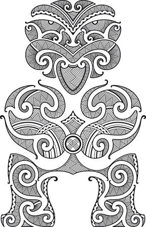 폴리네시아: 첫 번째 사람은 티 키. 마오리 문신 디자인 스타일. 벡터 일러스트 레이 션.