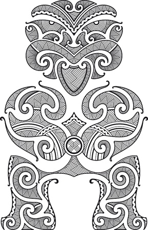 polynesian: Tiki the first man. Maori style tattoo design. Vector illustration.