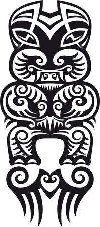 Taniwha el monstruo. Maoríes estilo del diseño del tatuaje. Ilustración del vector.