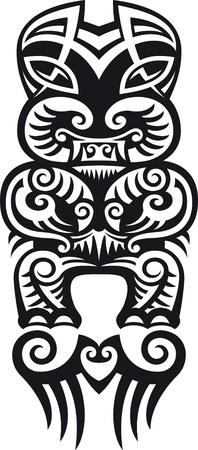 maories: Taniwha el monstruo. Maor�es estilo del dise�o del tatuaje. Ilustraci�n del vector.