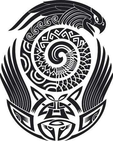 maories: Patrón de tatuaje tribal. Digno de un hombro. Ilustración del vector.