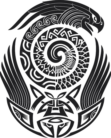 tatouage oiseau: Tatouage tribal. Digne d'une épaule. Vector illustration. Illustration