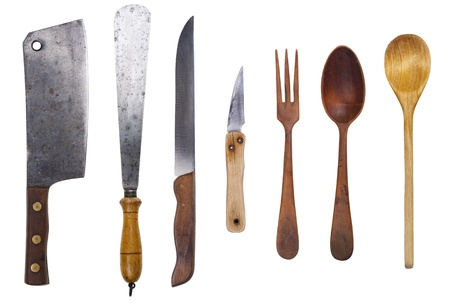 Set of rustic utensil  Cleaver, trowel, knifes, wooden spoons and fork  Isolated with clipping path  photo