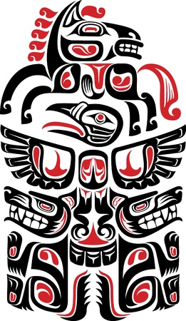 the inuit: Haida style tattoo design created with animal images