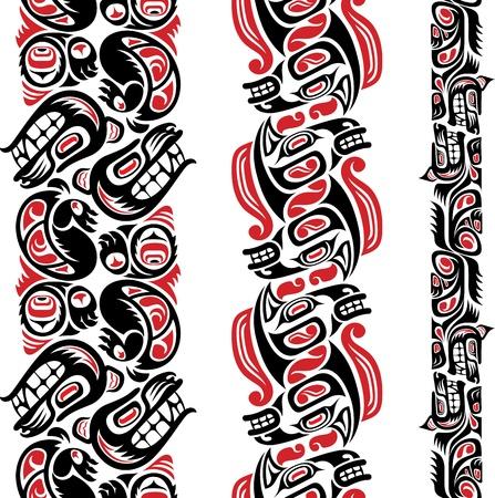 totem: Haida mod�le de style sans faille cr��e avec des images d'animaux Editable illustration vectorielle