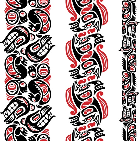 inuit: Haida style seamless pattern created with animal images  Editable vector illustration  Illustration