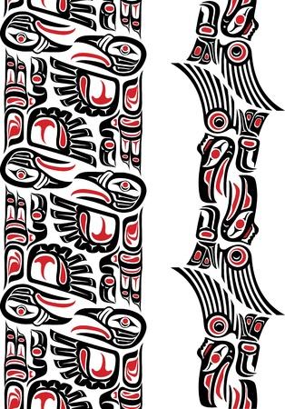 Haida style seamless pattern created with animal images  Editable vector illustration  Illustration