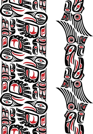 Haida style seamless pattern created with animal images  Editable vector illustration  Иллюстрация