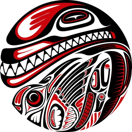 inuit: Haida style tattoo design created with animal images  Editable vector illustration