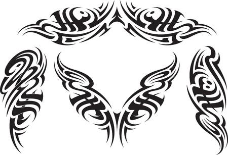maories: Patrones de tatuaje tribal del estilo, apto para una espalda brazos y hombros Vectores