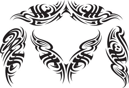 Tribal styled tattoo patterns fit for a back, arms and shoulders  Vector