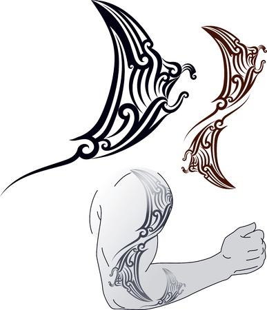 폴리네시아: 어깨와 팔뚝에 대한 만타 레이 프로파일 맞는 모양 마오리 스타일 문신 패턴