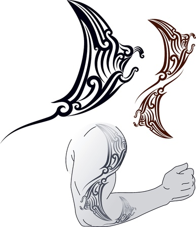 shoulder: Maori styled tattoo pattern in shape of manta ray profile  Fit for shoulder and forearm