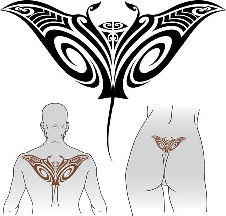 Maori stijl tattoo patroon in de vorm van manta ray Fit for boven-en onderrug Stock Illustratie