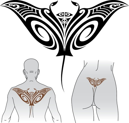 bottom line: Maori styled tattoo pattern in shape of manta ray  Fit for upper and lower back