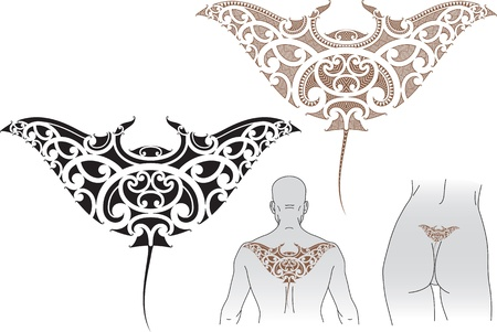 shoulders: Maori styled tattoo pattern in shape of manta ray  Fit for upper and lower back