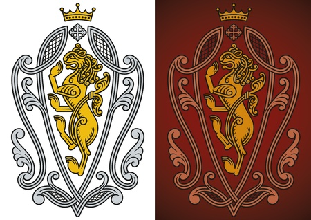 Heraldic royal lion ornate in Renaissance style  Vector
