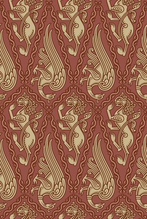 Seamless pattern with medieval style elements based on animal motifs  Vector