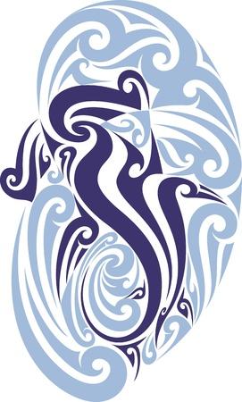 pez martillo: Patr�n de tatuaje estilo maor� en la forma de un tibur�n martillo Fit para un hombro Vectores