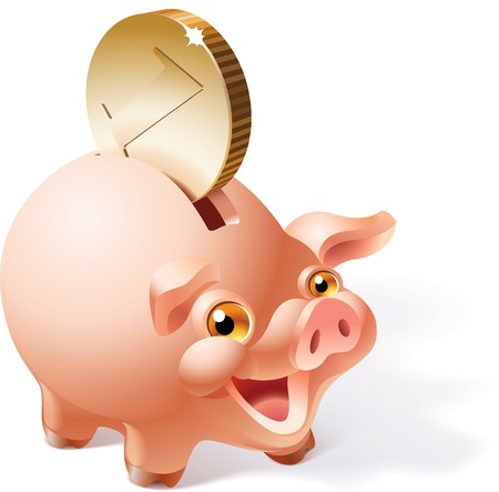 smily: Big golden coin is dropping into a smily pink piggy bank