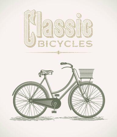 damas antiguas: Ilustración de la vendimia con una bicicleta clásica dama