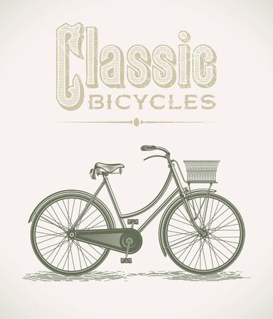 Vintage illustration with a classic lady bicycle Stock Vector - 19820296