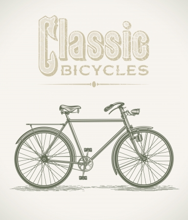 saddle: Vintage illustration with a classic gentleman bicycle Illustration