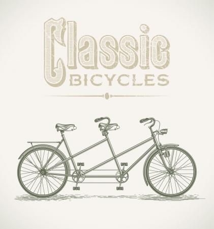 bicyclette: Illustration de cru avec un tandem classique Illustration