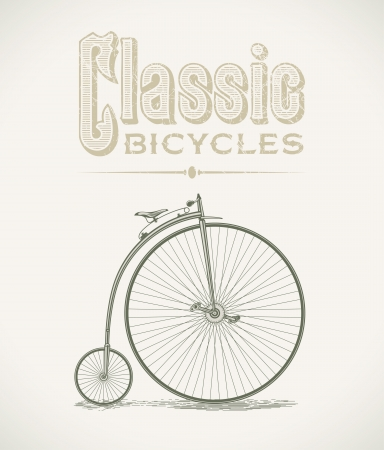 Vintage illustration with a classic penny-farthings bicycle Vector